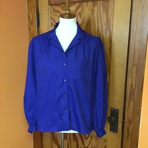 Vintage 80s bright blue button down dressy shirt